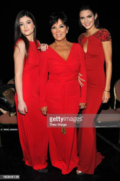 Kylie Kris and Kendall Jenner pose backstage at the Heart Truth 2013 Fashion Show at Hammerstein Ballroom on February 6 2013 in New York City