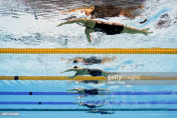 Kylie Masse of Canada Kathleen Baker of the United States Katinka Hosszu of Hungary Yuanhui Fu of China and Matea Samardzic of Croatia compete in the...