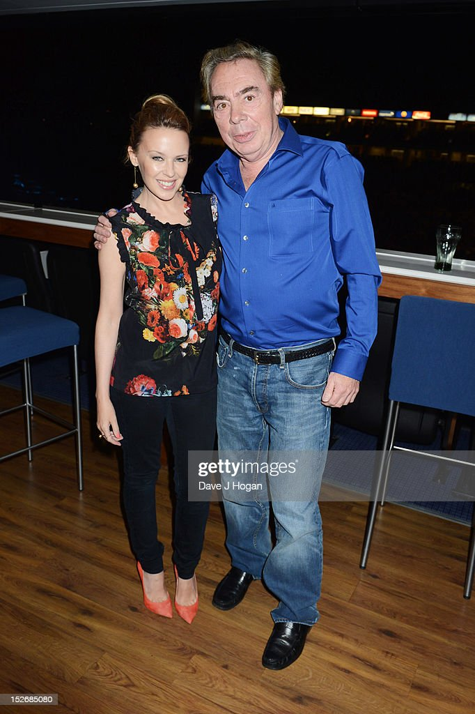 <a gi-track='captionPersonalityLinkClicked' href=/galleries/search?phrase=Kylie+Minogue&family=editorial&specificpeople=201671 ng-click='$event.stopPropagation()'>Kylie Minogue</a> and <a gi-track='captionPersonalityLinkClicked' href=/galleries/search?phrase=Andrew+Lloyd+Webber&family=editorial&specificpeople=157705 ng-click='$event.stopPropagation()'>Andrew Lloyd Webber</a> attend Jesus Christ Superstar, the arena tour at The O2 Arena on September 23, 2012 in London, England.