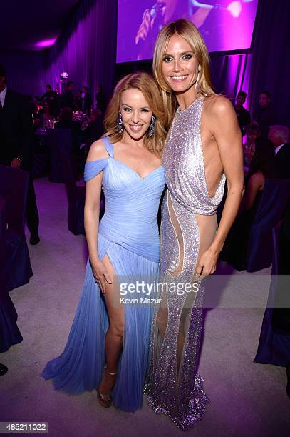 Kylie Minogue and Heidi Klum attend the 23rd Annual Elton John AIDS Foundation Academy Awards Viewing Party on February 22 2015 in Los Angeles...