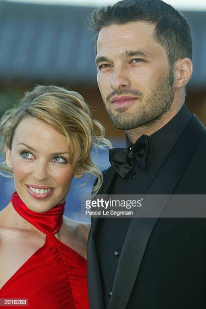Kylie Minogue and her boyfriend Olivier Martinez arrive at the Laureus World Sports Awards held at the Grimaldi Forum May 20 2003 in Monaco
