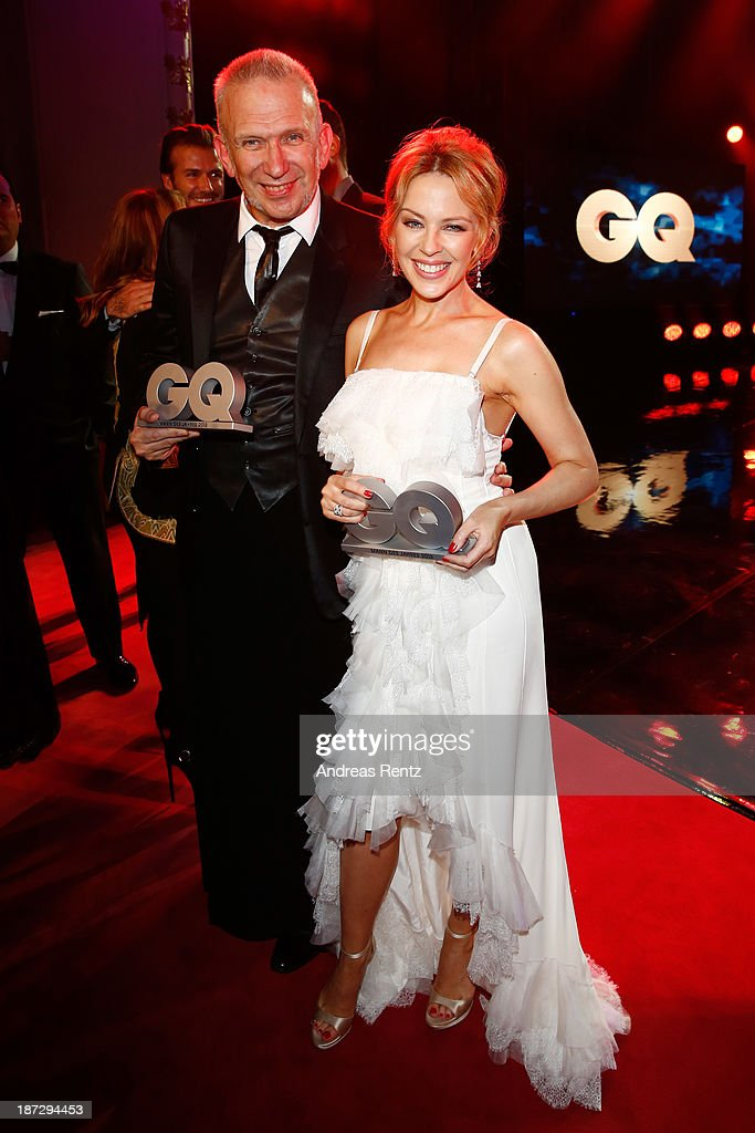 (TO BE USED EXCLUSIVELY FOR POST-EVENT REPORTING TO GQ MEN OF THE YEAR 2013) Kylie Minogue and Jean-Paul Gaultier at the end of the GQ Men Of The Year Award at Komische Oper on November 7, 2013 in Berlin, Germany.