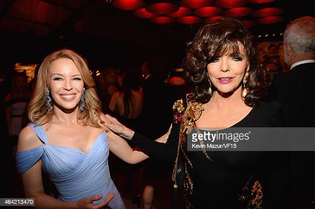 Kylie Minogue and Joan Collins attend the 2015 Vanity Fair Oscar Party hosted by Graydon Carter at the Wallis Annenberg Center for the Performing...