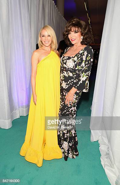 Kylie Minogue and Joan Collins attend the 2016 VA Summer Party In Partnership with Harrods at The VA on June 22 2016 in London England