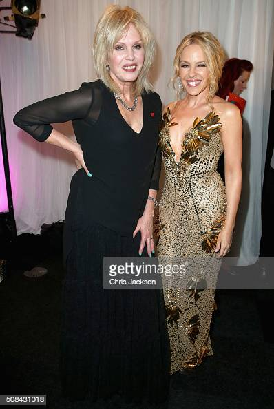 Kylie Minogue and Joanna Lumley at the Prince's Trust Invest in Futures Gala Dinner at The Old Billingsgate on February 4 2016 in London England The...