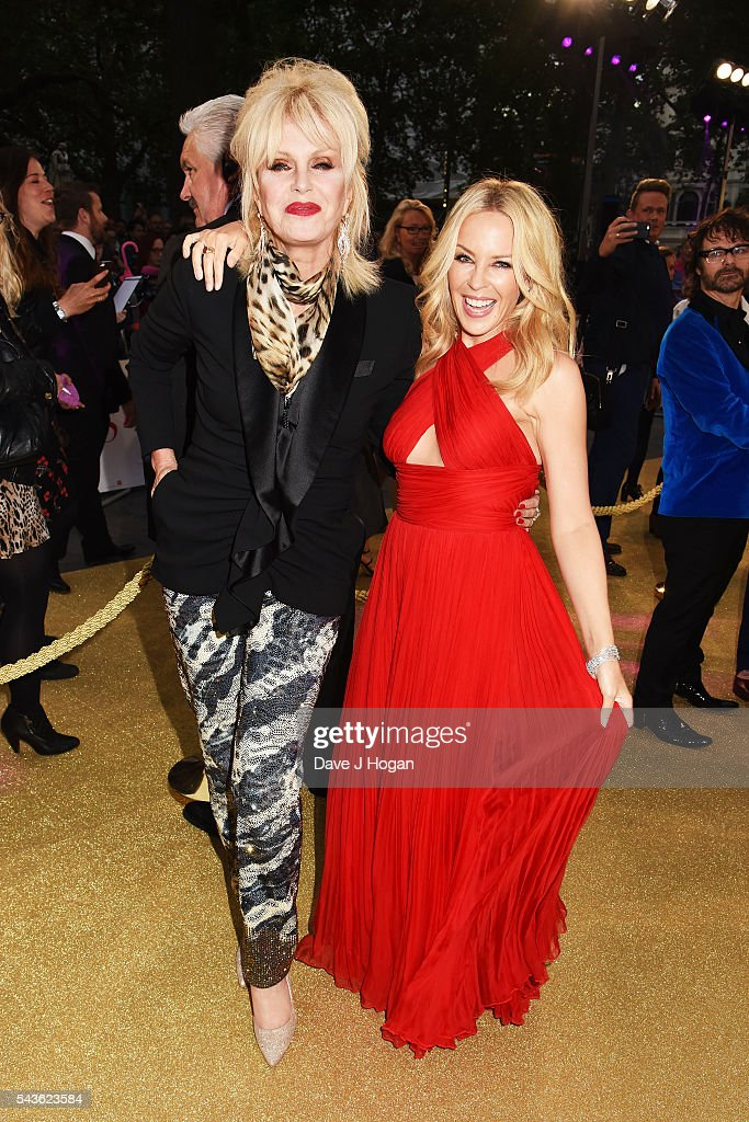 Kylie Minogue (R) and Joanna Lumley attend the World Premiere of 'Absolutely Fabulous: The Movie' at Odeon Leicester Square on June 29, 2016 in London, England.