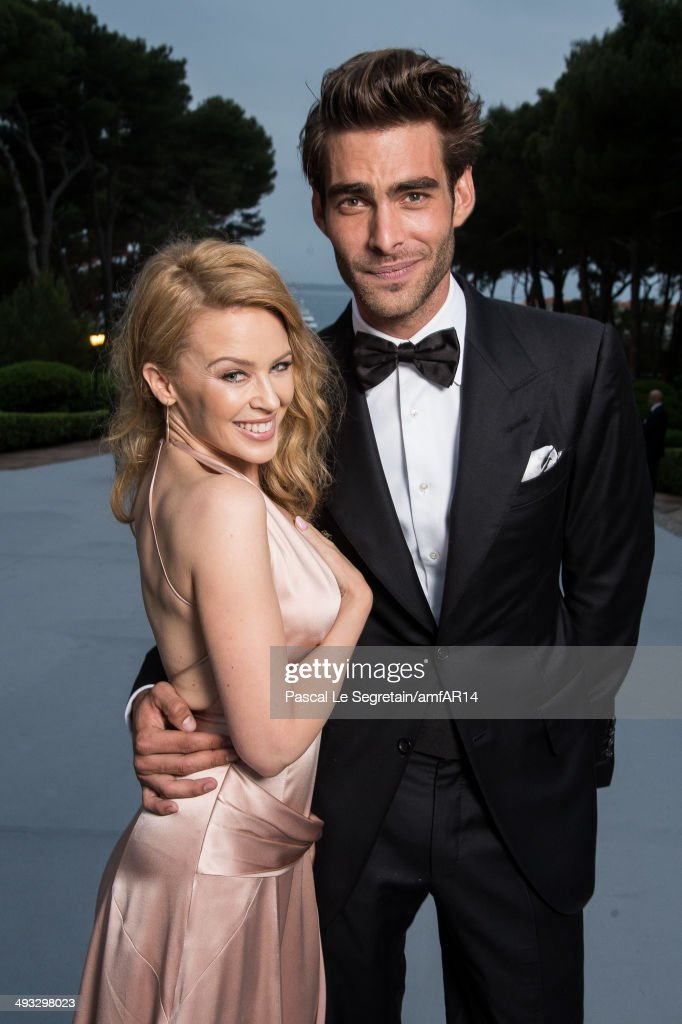 Kylie Minogue and Jon Kortajarena pose for a portrait at amfAR's 21st Cinema Against AIDS Gala Presented By WORLDVIEW BOLD FILMS And BVLGARI at Hotel...