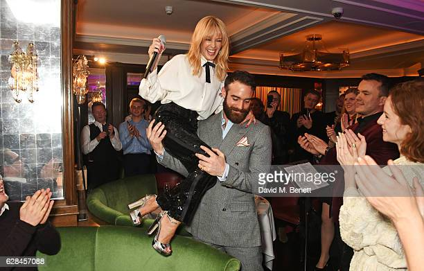 Kylie Minogue and Joshua Sasse attend an intimate performance with Kylie Minogue at The Ivy to kick off The Ivy 100 Centenary celebrations on...