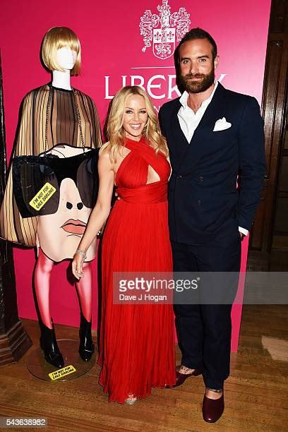 Kylie Minogue and Joshua Sasse attend the after party of the world premiere of 'Absolutely Fabulous The Movie' at Liberty on June 29 2016 in London...