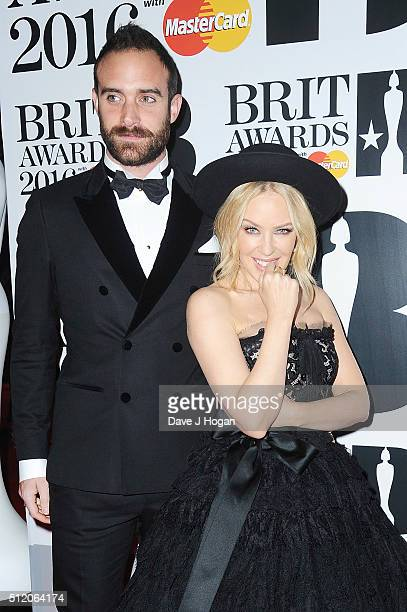 Kylie Minogue and Joshua Sasse attend the BRIT Awards 2016 at The O2 Arena on February 24 2016 in London England