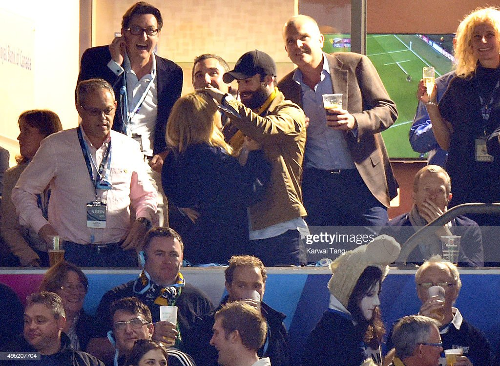 Kylie Minogue and Joshua Sasse attend the Rugby World Cup Final match between New Zealand and Australia during the Rugby World Cup 2015 at Twickenham Stadium on October 31, 2015 in London, United Kingdom.