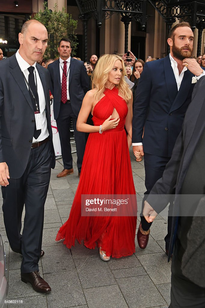 Kylie Minogue and Joshua Sasse attend the World Premiere of 'Absolutely Fabulous: The Movie' at Odeon Leicester Square on June 29, 2016 in London, England.