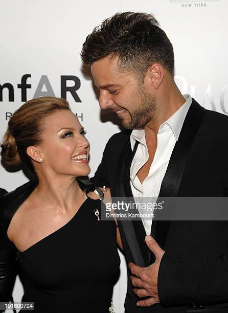 Kylie Minogue and Ricky Martin attend amFAR Inspiration Gala at the New York Public Libaray on June 3 2010 in New York City