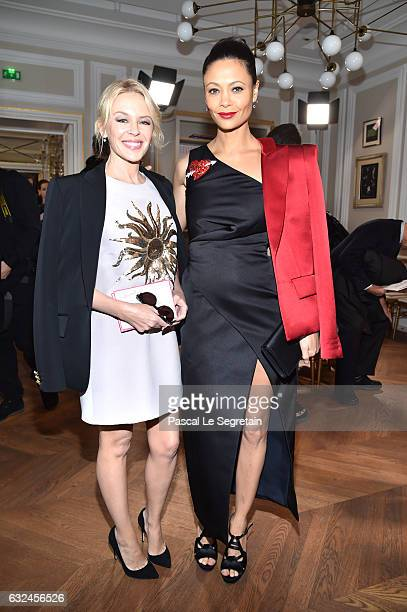 Kylie Minogue and Thandie Newton attend the Schiaparelli Haute Couture Spring Summer 2017 show as part of Paris Fashion Week on January 23 2017 in...