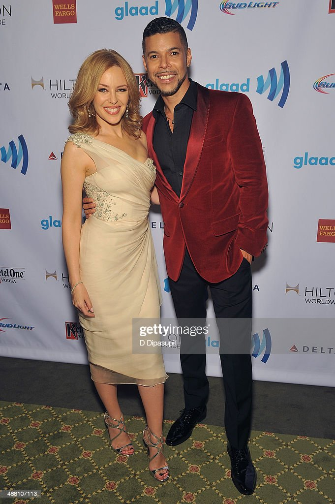 Kylie Minogue and Wilson Cruz attend the 25th Annual GLAAD Media Awards on May 3, 2014 in New York City.