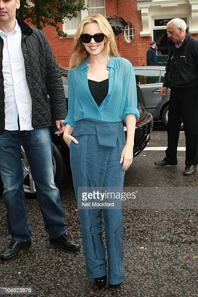 Kylie Minogue arrives at BBC Maida Vale Studios to perform in The Live Lounge on September 29 2010 in London England