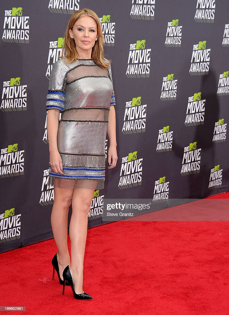 Kylie Minogue arrives at the 2013 MTV Movie Awards at Sony Pictures Studios on April 14, 2013 in Culver City, California.