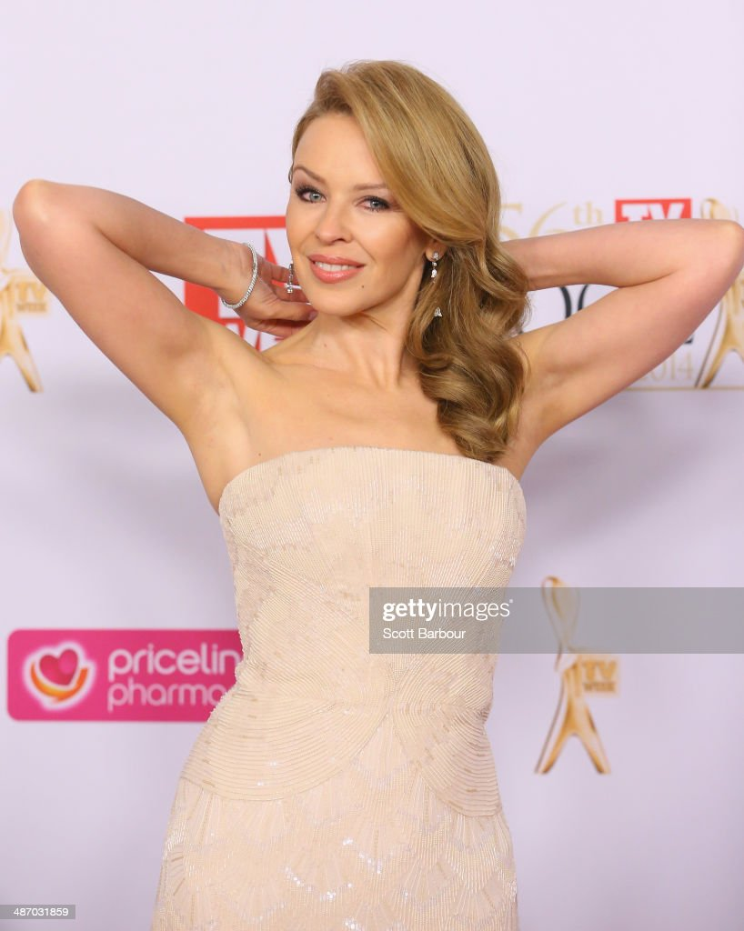<a gi-track='captionPersonalityLinkClicked' href=/galleries/search?phrase=Kylie+Minogue&family=editorial&specificpeople=201671 ng-click='$event.stopPropagation()'>Kylie Minogue</a> arrives at the 2014 Logie Awards at Crown Palladium on April 27, 2014 in Melbourne, Australia.