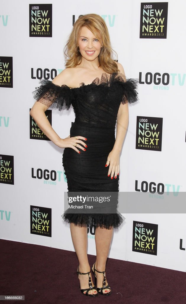 <a gi-track='captionPersonalityLinkClicked' href=/galleries/search?phrase=Kylie+Minogue&family=editorial&specificpeople=201671 ng-click='$event.stopPropagation()'>Kylie Minogue</a> arrives at the Logo NewNowNext Awards 2013 held at The Fonda Theatre on April 13, 2013 in Los Angeles, California.