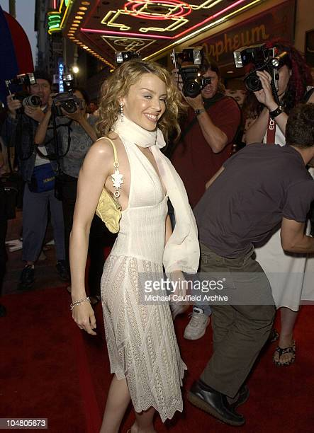 Kylie Minogue arrives during Outfest 2002 The Gay Lesbian Film Festival at The Orpheum Theatre in Los Angeles California United States
