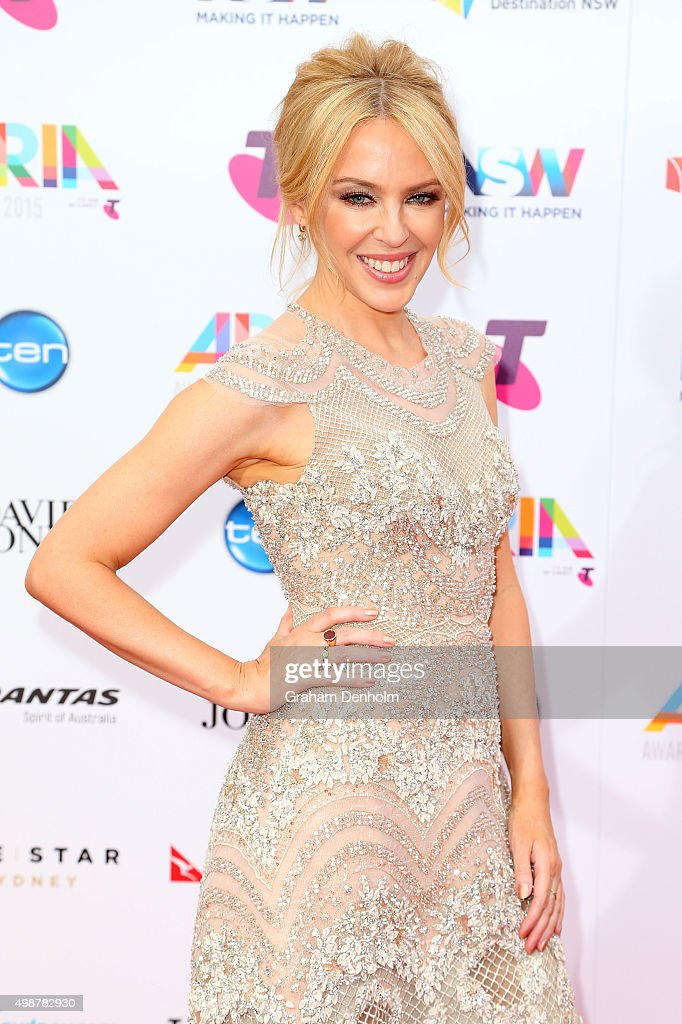 <a gi-track='captionPersonalityLinkClicked' href=/galleries/search?phrase=Kylie+Minogue&family=editorial&specificpeople=201671 ng-click='$event.stopPropagation()'>Kylie Minogue</a> arrives for the 29th Annual ARIA Awards 2015 at The Star on November 26, 2015 in Sydney, Australia.