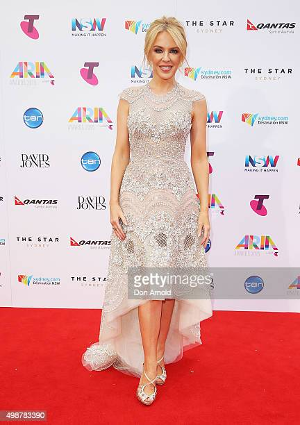 Kylie Minogue arrives for the 29th Annual ARIA Awards 2015 at The Star on November 26 2015 in Sydney Australia