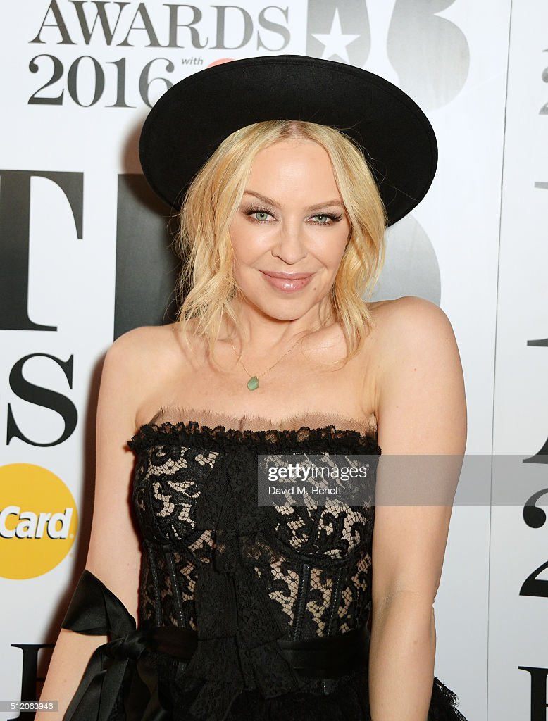 <a gi-track='captionPersonalityLinkClicked' href=/galleries/search?phrase=Kylie+Minogue&family=editorial&specificpeople=201671 ng-click='$event.stopPropagation()'>Kylie Minogue</a> arrives the BRIT Awards 2016 at The O2 Arena on February 24, 2016 in London, England.