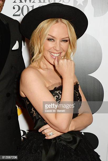 Kylie Minogue arrives the BRIT Awards 2016 at The O2 Arena on February 24 2016 in London England