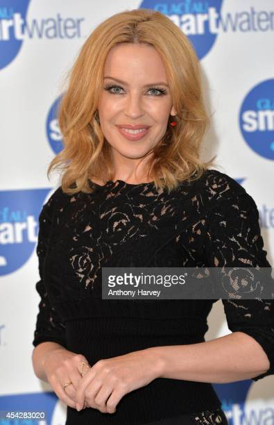 Kylie Minogue attends a photocall to launch Glaceau Smartwater at The Dairy Art Centre on August 28 2014 in London England