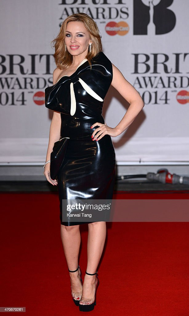 Kylie Minogue attends The BRIT Awards 2014 at 02 Arena on February 19, 2014 in London, England.