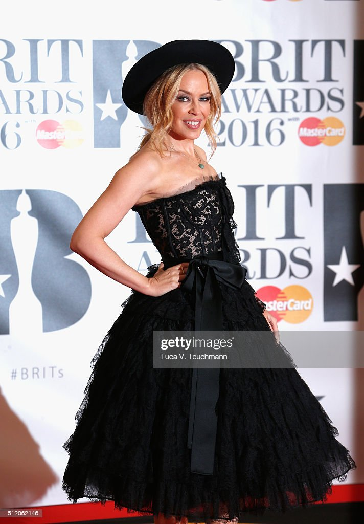 <a gi-track='captionPersonalityLinkClicked' href=/galleries/search?phrase=Kylie+Minogue&family=editorial&specificpeople=201671 ng-click='$event.stopPropagation()'>Kylie Minogue</a> attends the BRIT Awards 2016 at The O2 Arena on February 24, 2016 in London, England.