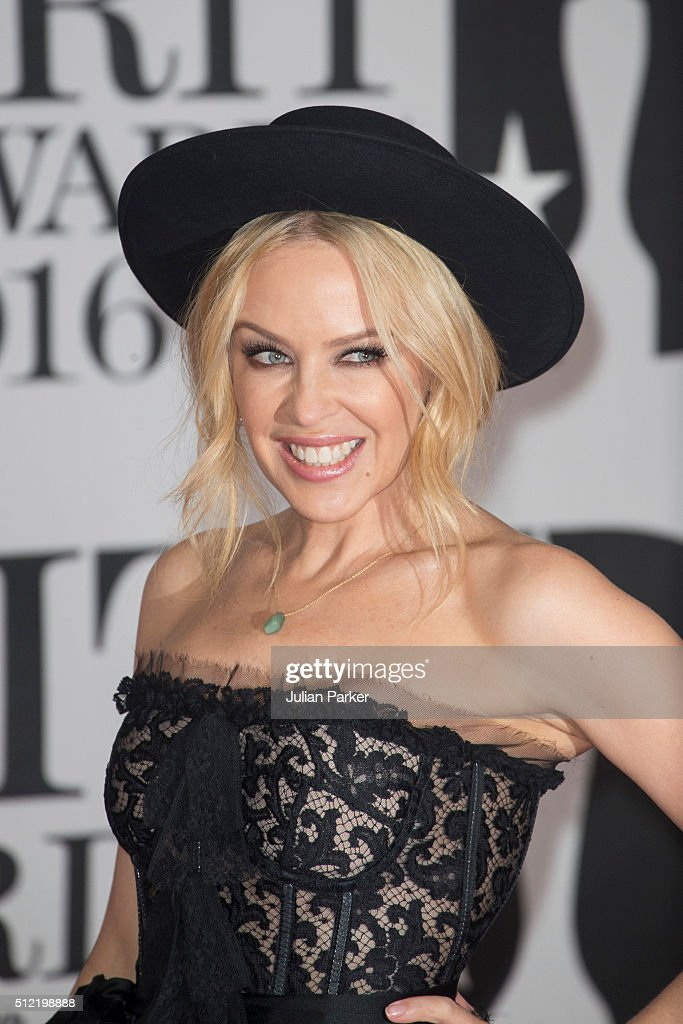 Kylie Minogue attends the BRIT Awards 2016 at The O2 Arena on February 24, 2016 in London, England.