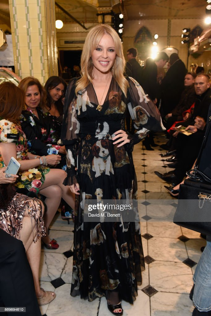 Kylie Minogue attends the Dolce & Gabbana Italian Christmas catwalk show at Harrods on November 2, 2017 in London, England.