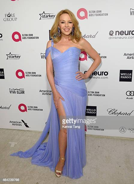 Kylie Minogue attends the Elton John AIDS Foundation's 23rd annual Academy Awards Viewing Party at The City of West Hollywood Park on February 22...