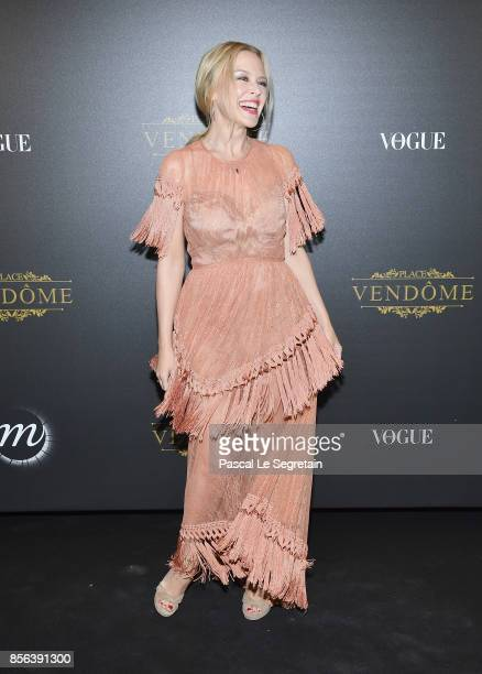 Kylie Minogue attends the Irving Penn Exhibition Private Viewing Hosted by Vogue as part of the Paris Fashion Week Womenswear Spring/Summer 2018 on...
