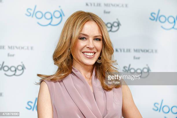 Kylie Minogue attends the Kylie Minogue For Sloggi Collection Presentation Press Conference on April 23 2015 in Berlin Germany