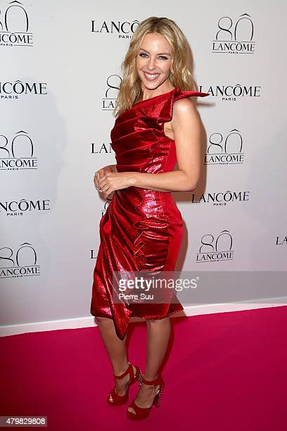 Kylie Minogue attends the Lancome 80th Anniversary Party as part of Paris Fashion Week Haute Couture Fall/Winter 2015/2016 on July 7 2015 in Paris...