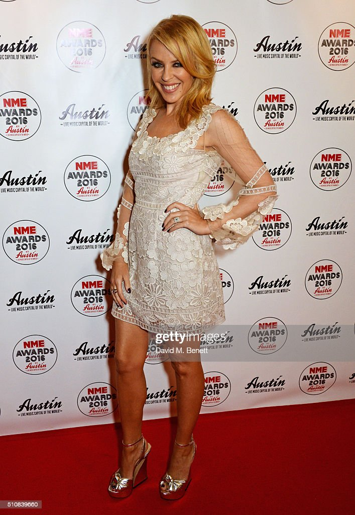 <a gi-track='captionPersonalityLinkClicked' href=/galleries/search?phrase=Kylie+Minogue&family=editorial&specificpeople=201671 ng-click='$event.stopPropagation()'>Kylie Minogue</a> attends the NME Awards with Austin, Texas, at the O2 Academy Brixton on February 17, 2016 in London, England.