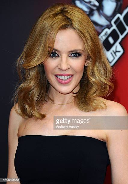 Kylie Minogue attends the red carpet launch for 'The Voice UK' at BBC Broadcasting House on January 6 2014 in London England