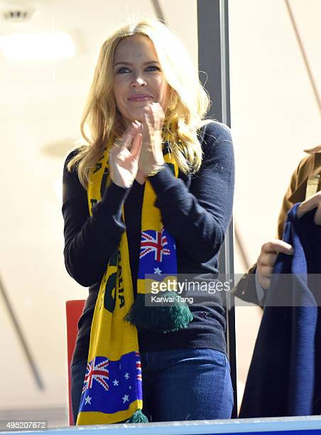 Kylie Minogue attends the Rugby World Cup Final match between New Zealand and Australia during the Rugby World Cup 2015 at Twickenham Stadium on...