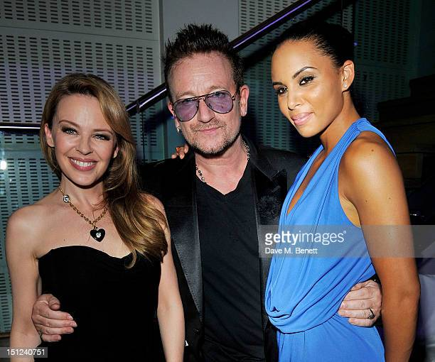 Kylie Minogue Bono and Louise Hazel attend an afterparty following the GQ Men Of The Year Awards 2012 at The Royal Opera House on September 4 2012 in...