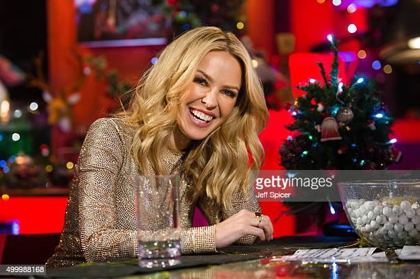 Kylie Minogue during a live broadcast of 'TFI Friday' on December 4 2015 in London England