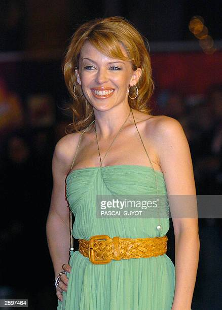 Kylie Minogue from Australia arrives 24 January 2004 at Cannes' Palais des Festivals for France's annual NRJ music awards The awards are held as the...