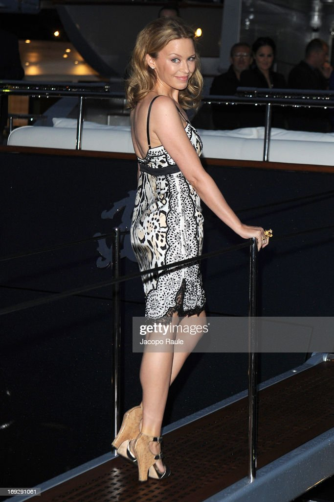 Kylie Minogue is seen arriving at Roberto Cavalli's Party during The 66th Annual Cannes Film Festival on May 22, 2013 in Cannes, France.