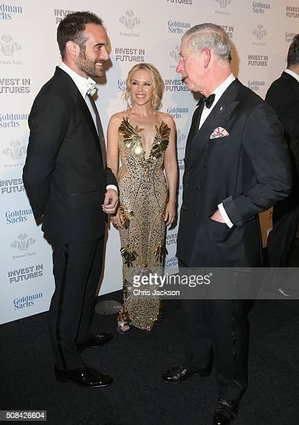 Kylie Minogue Joshua Sasse and Prince Charles Prince of Wales attend a predinner reception for the Prince's Trust Invest in Futures Gala Dinner at...