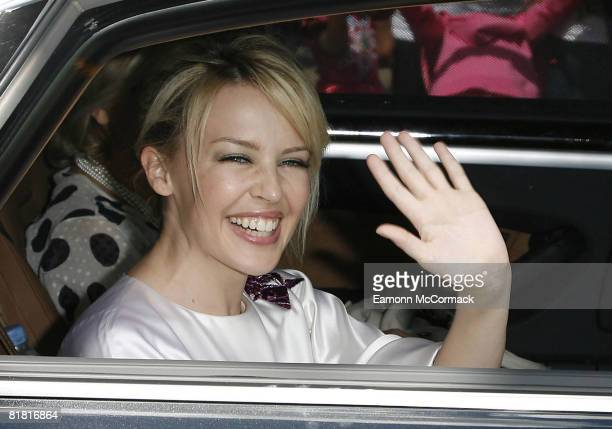 Kylie Minogue leaves Buckingham Palace after receiving OBE at Buckingham Palace on July 3 2008 in London