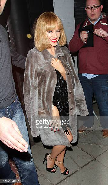 Kylie Minogue leaving the Old Blue Last after her album launch party on February 13 2014 in London England