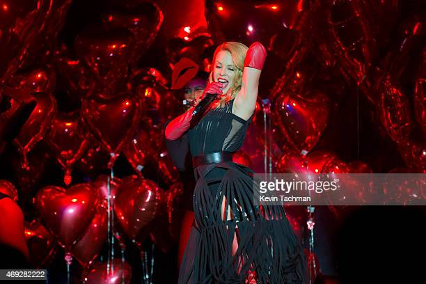 Kylie Minogue performs during the 5th Annual amfAR Inspiration Gala at the home of Dinho Diniz on April 10 2015 in Sao Paulo Brazil
