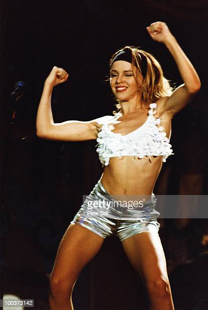 Kylie Minogue performs on stage at the London Docklands Arena on April 22nd 1990 in London England