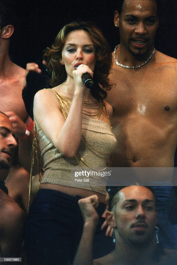 Kylie Minogue performs on stage at 'The Party In The Park' in Hyde Park, on July 9th, 2000 in London, England.